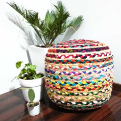 Avioni Home Eco Collection – Colorful Jute and Chindi Drum Style Pouf – 40cm x 45cm x 45cm