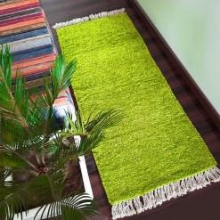 Avioni Bedside/Hallway/Pooja Carpets In Faux Silk Green-(22X55 Inch)-56X140 cms