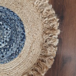 Avioni Home Contemporary Collection – Eco-friendly  Jute With Jeans Floral Handmade Braided Area Rug