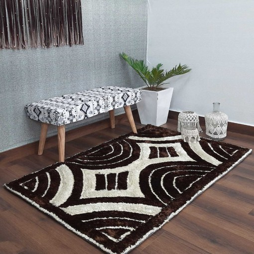 Designer Rugs From Avioni – Shaggy Rug with Beige and Brown Modern 3D Design  –  Best Seller@ Avioni Factory Price