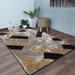 Avioni Shaggy Carpets in Beautiful Coffee Squares Modern Pattern Luxury Look
