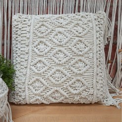 Bohemian Style Hand Knotted Macrame Cushion 100% Bleached Cotton With Filler-  18X18 Inch (45×45 cms)