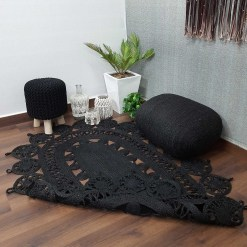 Avioni Braided Black Dyed Jute Ecofriendly Carpet Temple Design Oval Shape-Boho Collection- 120cm x 180cm (~4×6 Feet)