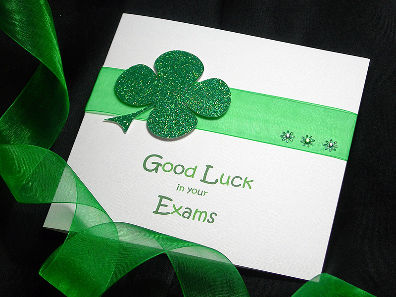 Lucky Clover Good Luck Handmade Card