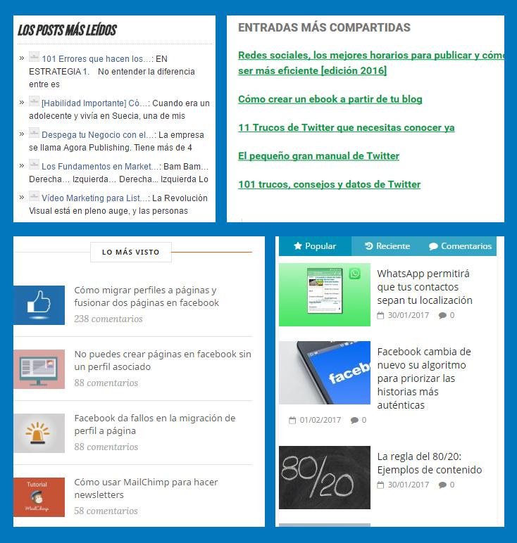 """4 widgets de """"lo más leído"""" de diferentes páginas de marketing online"""