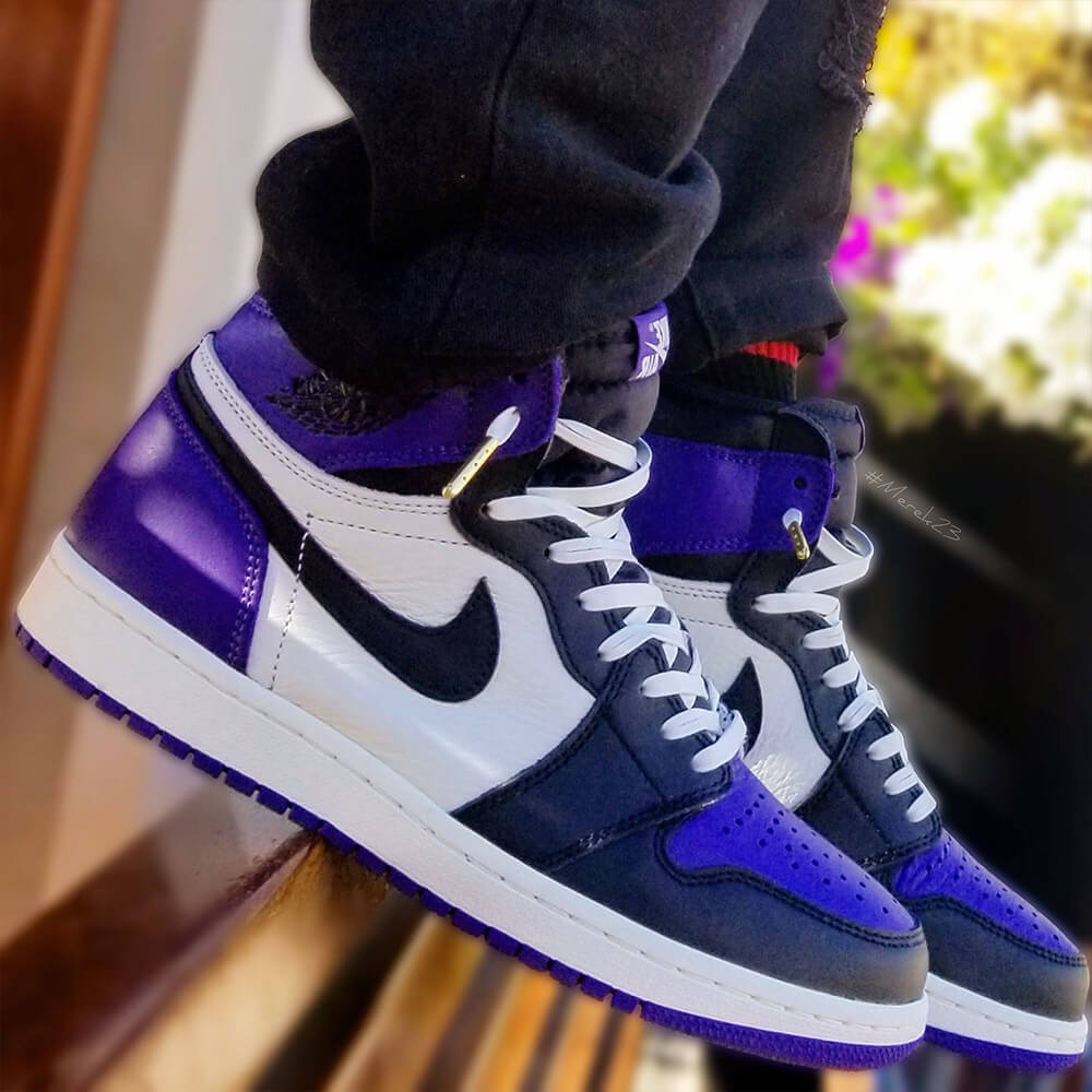 Court purple 1's white leather shoelaces gold tips