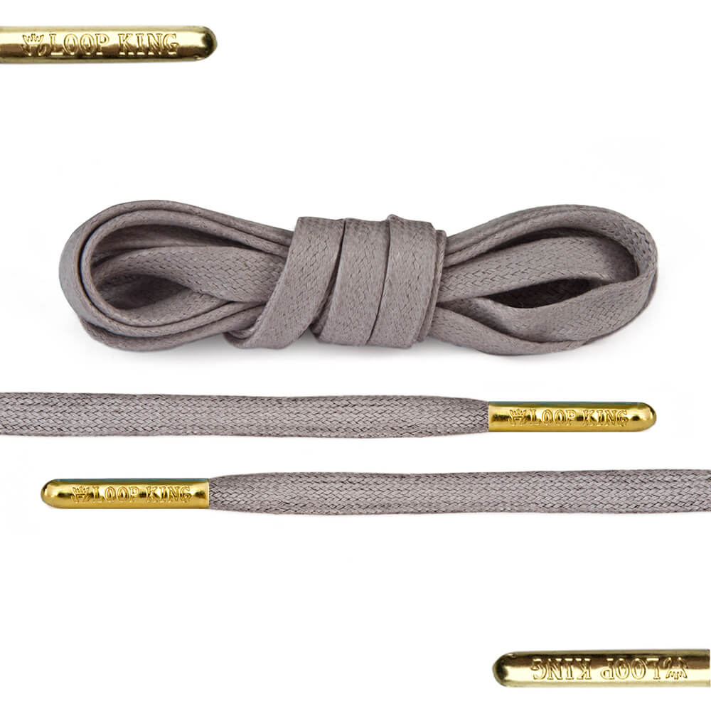 Flat Waxed Grey Shoe Laces With Gold Tips