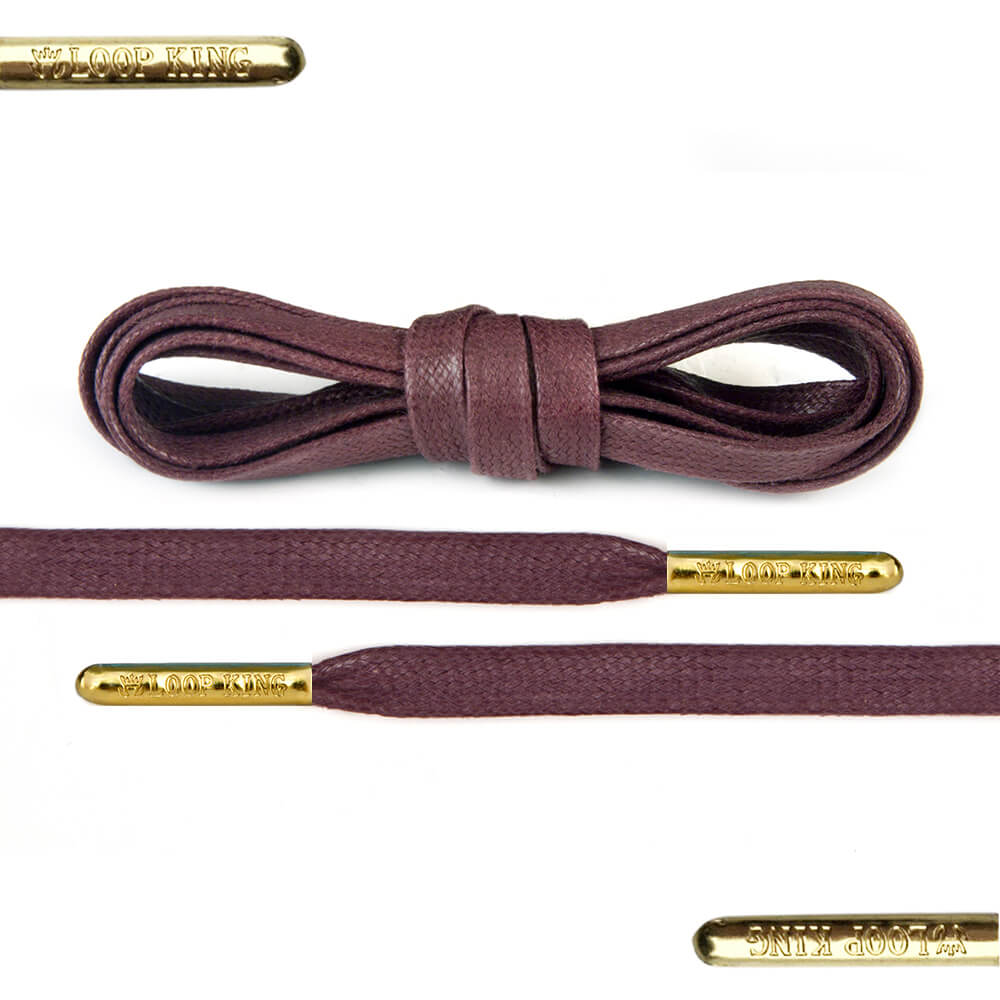 Flat Waxed Light Brown Shoe Laces With Gold Tips