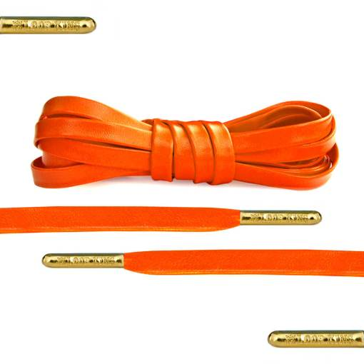 Luxury Orange Leather Shoe Laces Gold Tips
