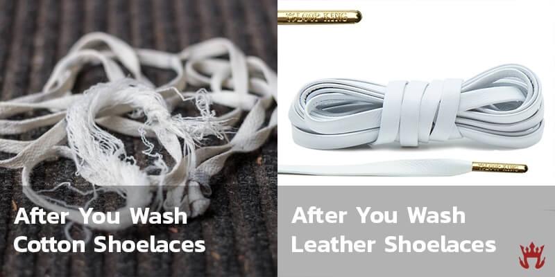 results from washing cotton shoelaces vs leather shoelaces