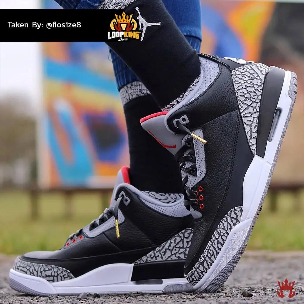 black leather shoelaces on jordan cements 3