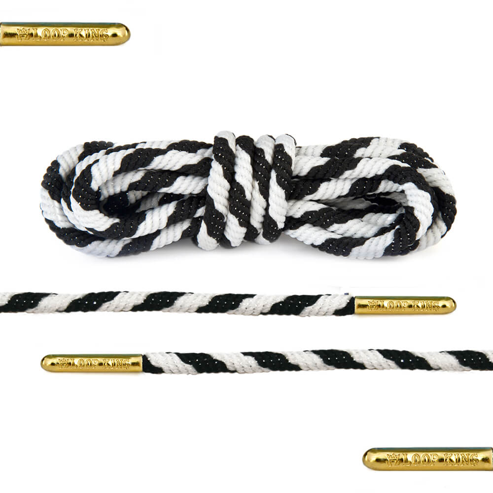 black white stripe rope shoelaces
