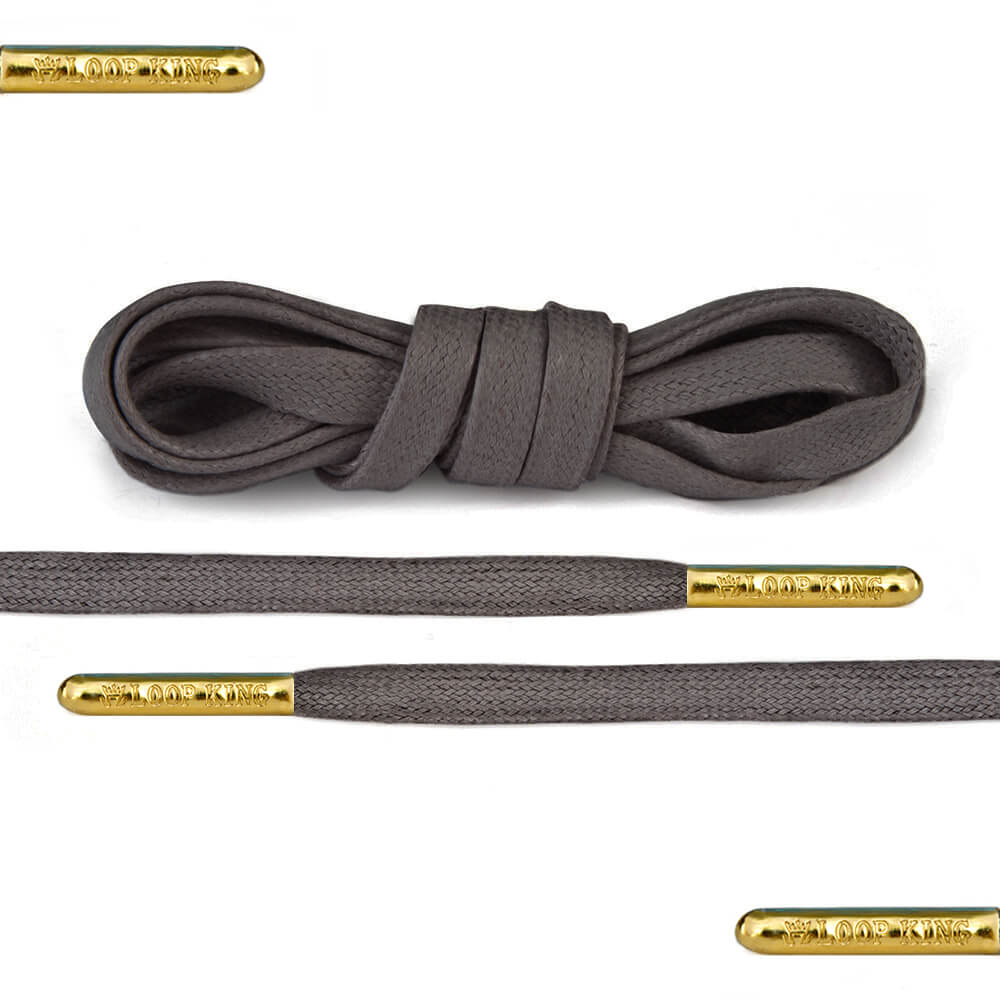 Flat Waxed Dark Grey Shoe Laces