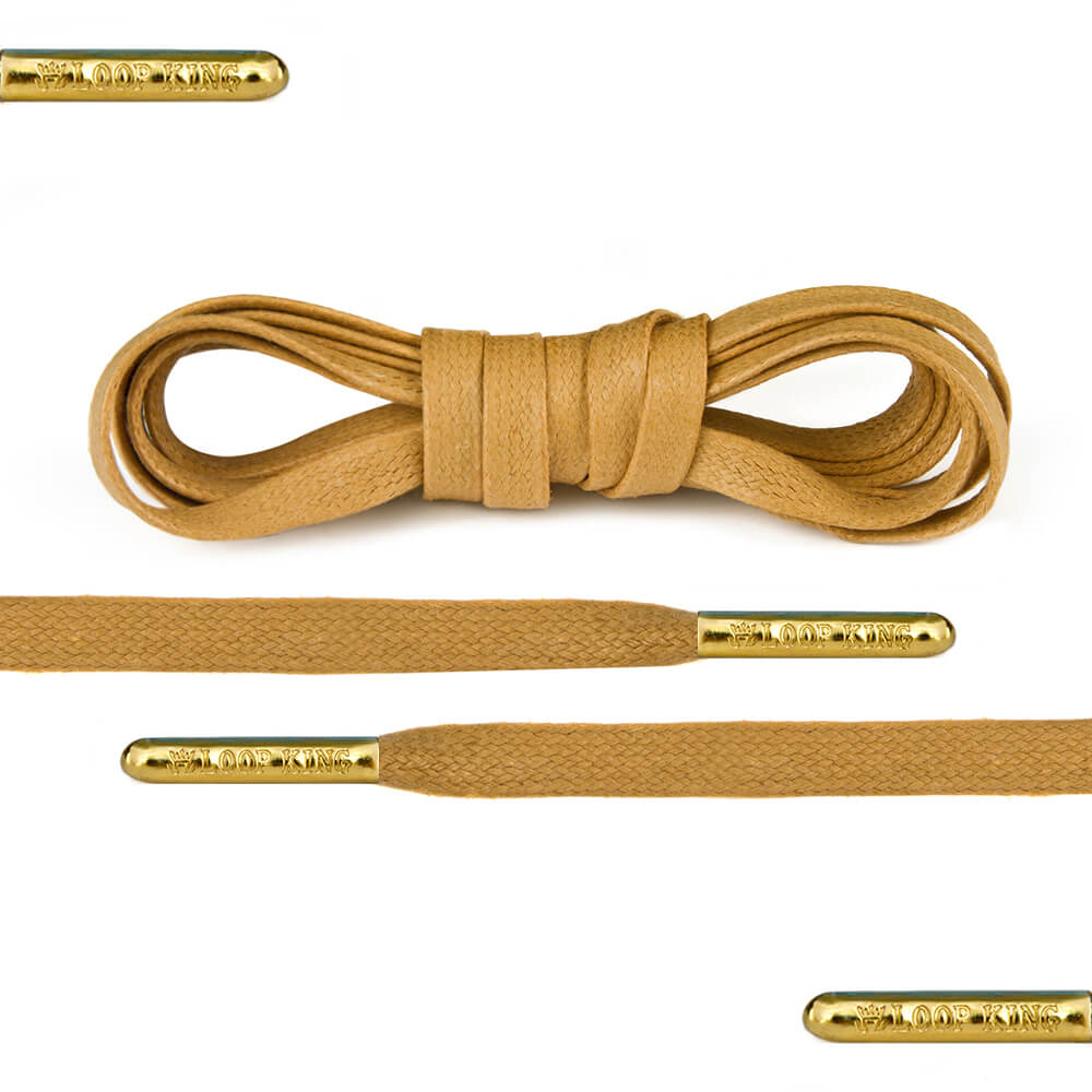 flat waxed tan shoe laces
