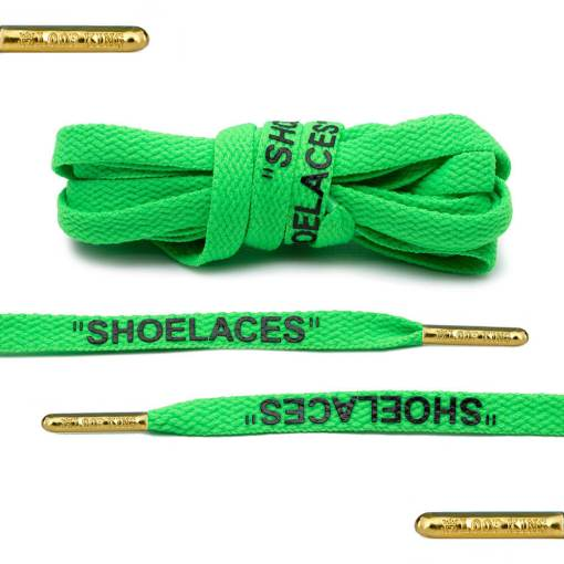 green off-white shoelaces gold tips