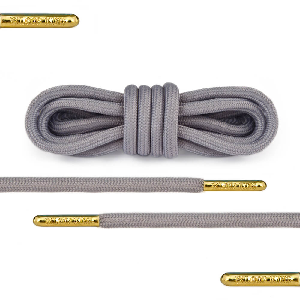 grey rope round shoelaces