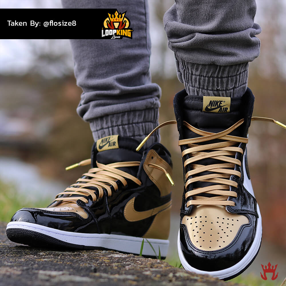 Loop King Laces Gold Leather Shoelaces on Gold Toe Jordans 8