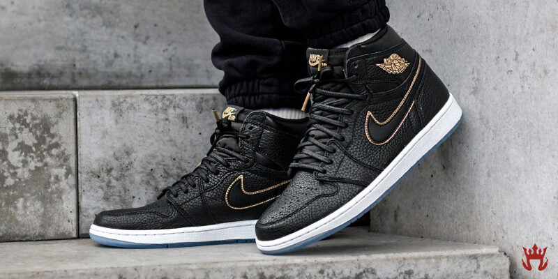 black leather nike air jordan 1 retro