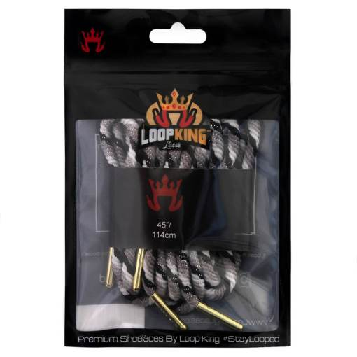 rope grey black white shoe lace packaging