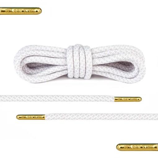 white grey rope round shoelaces