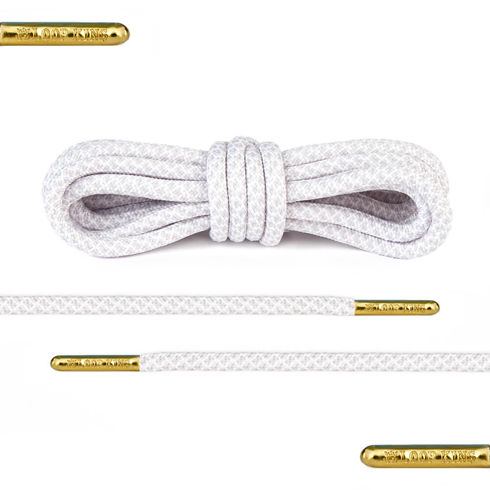 white grey rope round shoelaces