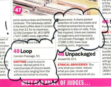 Exerpt from Time Out's list of Best London Shops