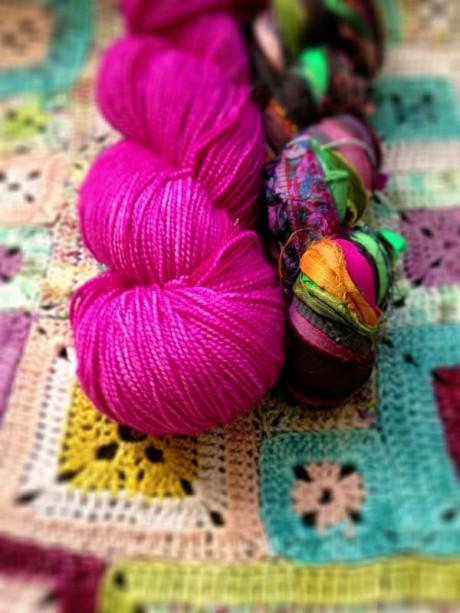 The Uncommon Thread Tough Sock in Les Fleurs and Tilli Thomas Sari Ribbon