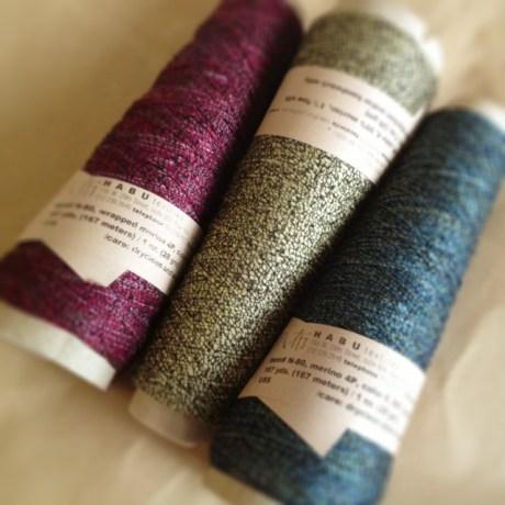 Habu Wrapped Merino L-R: colour 5, colour 4, colour 6