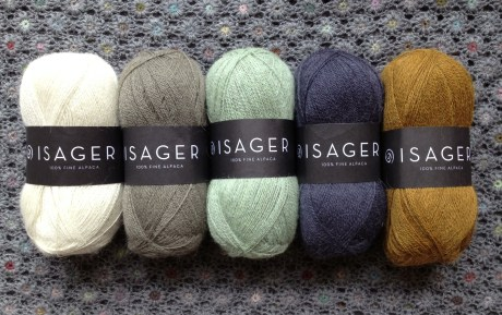 Isager Alpaca 1 L-R 0 Natural White, 46 Seagreen, 23 Mouse, 47 Dark Steel Grey, 3 Old Gold