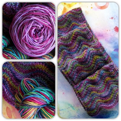 Koigu Ripple Scarf with colours KPPPM 100 and KPPPM 214