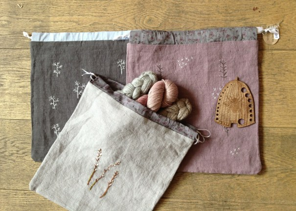 Tiny Happy Project Bags for Loop, with Wooden Beehive Gauge. Loop, London