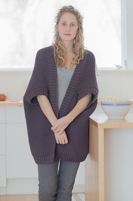 Stella - knit with Lark in Damson. Photo courtesy of Quince & Co.