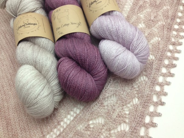 Eden Cottage Yarns, Thesus Lace (L-R) Stone, Black Magic Rose, Antique Rose. Shawl - Monarch Butterfly by Paulina P.