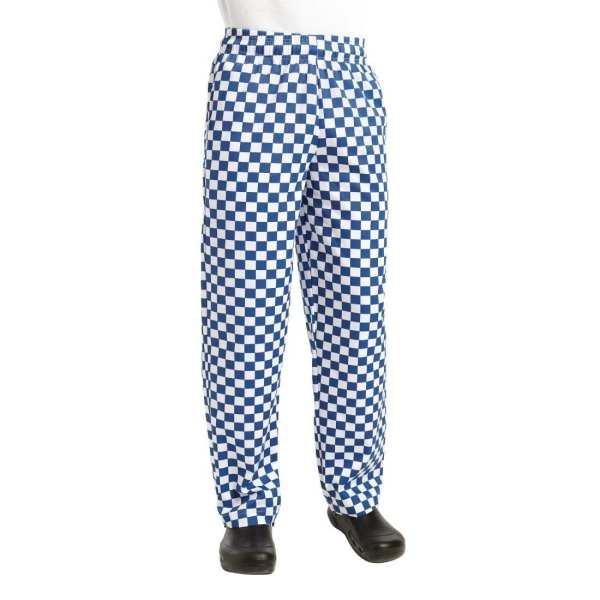Chef Works Unisex Easyfit Pants Big Blue Check Polycotton - Size XXL-0