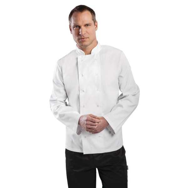 Vegas Chefs Jacket Long Sleeve White Polycotton - Size M-0