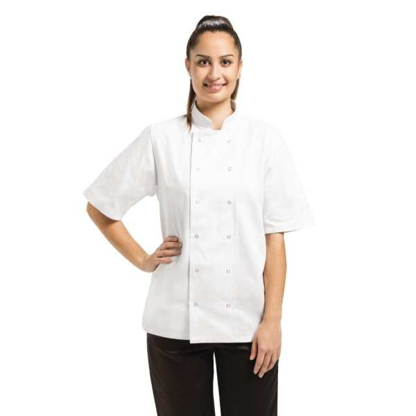 Vegas Chefs Jacket Short Sleeve White Polycotton - Size L-0