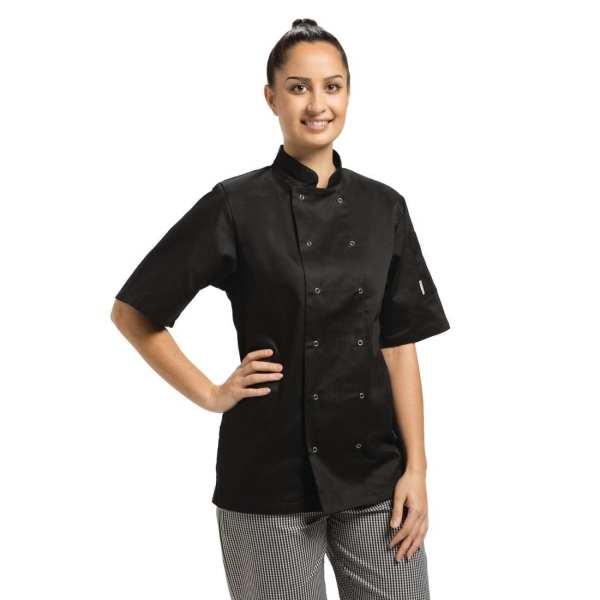 Vegas Chefs Jacket Short Sleeve Black Polycotton - Size M-0