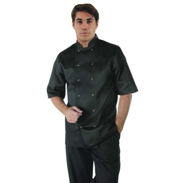 Vegas Chefs Jacket Short Sleeve Black Polycotton - Size S-0
