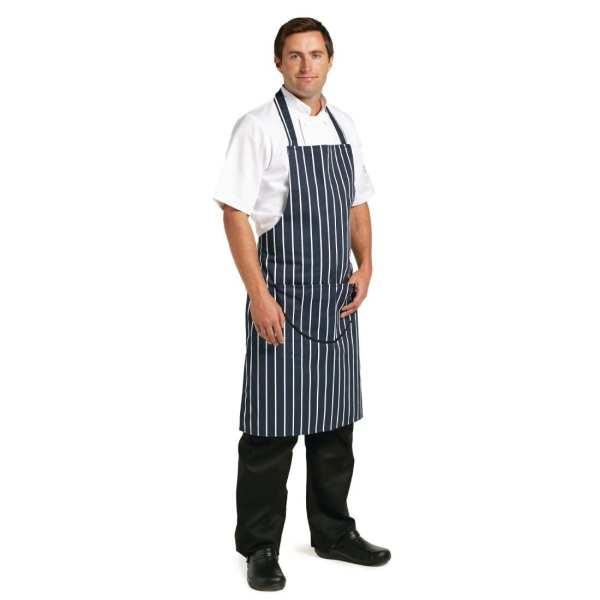 """Bib Apron Blue/White Butchers Stripe with Pocket - 28-38""""-0"""