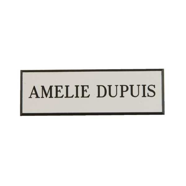 Name Badge White with Black Text-0