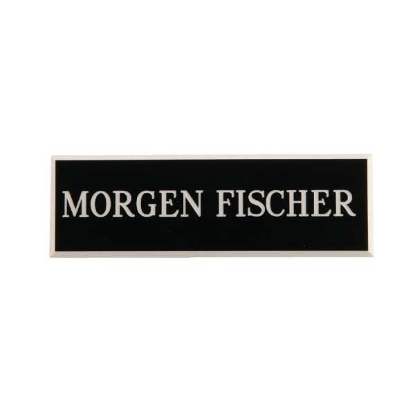Name Badge Black with White Text-0