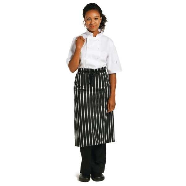"Whites Black & White Stripe Butchers Waist Apron - 760x920mm 30x36""-0"