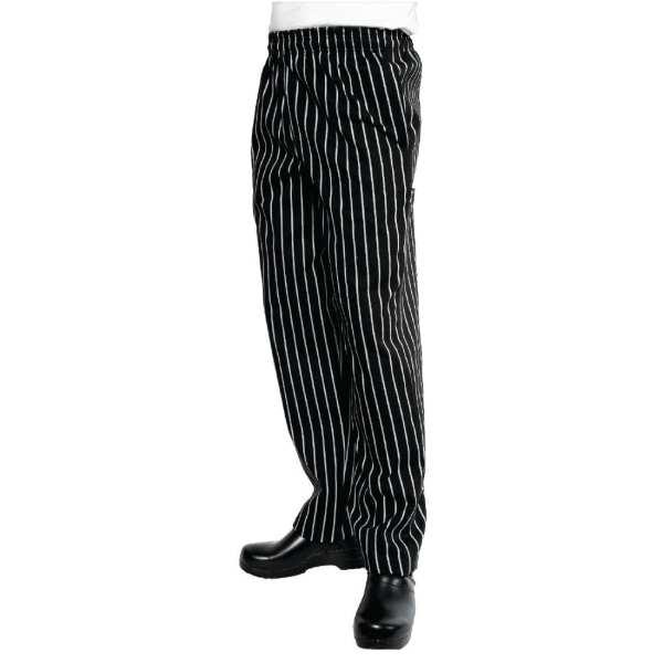 Chef Works Black & White Stripe Butcher Easi Fit Baggies - Size XXL-0
