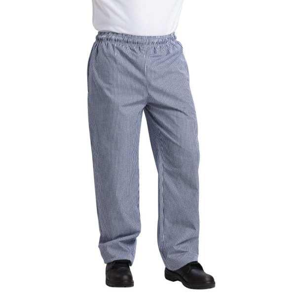 Vegas Small Blue & White Check Trousers Polycotton - Size L-0