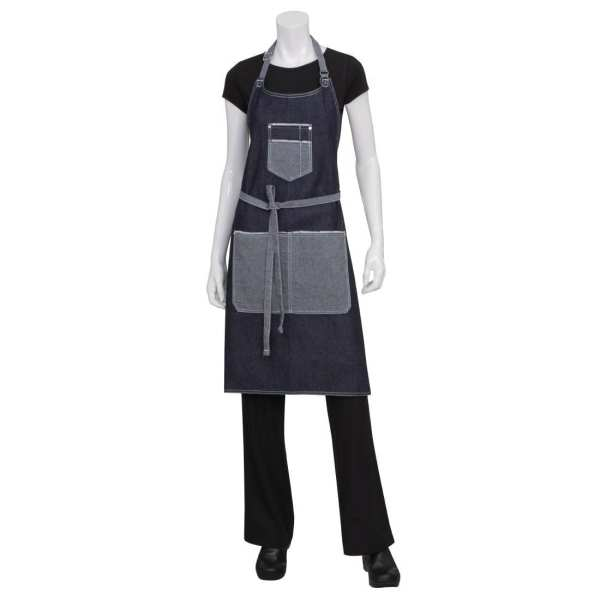 Chef Works Bronx Bib Apron with Scoop Neck (AB032) Indigo (B2B)-0