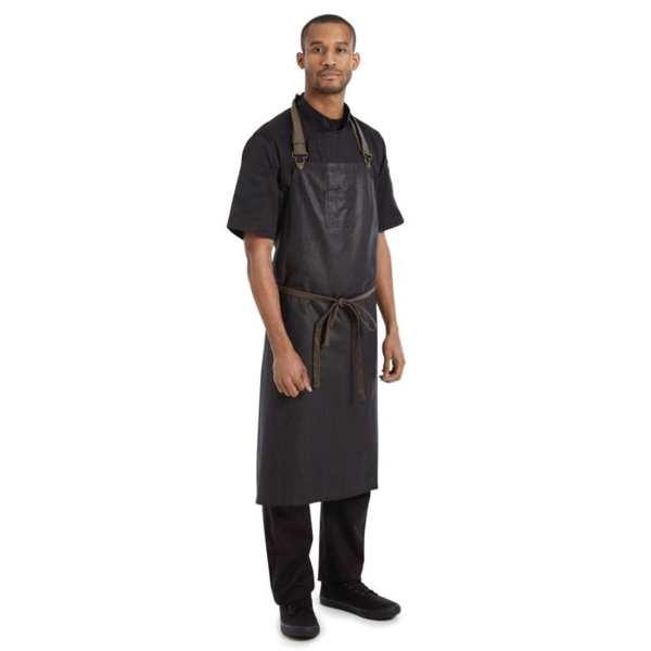 Chef Works Wet Look Boulder Wide Bib Apron Brown/Black (B2B)-0