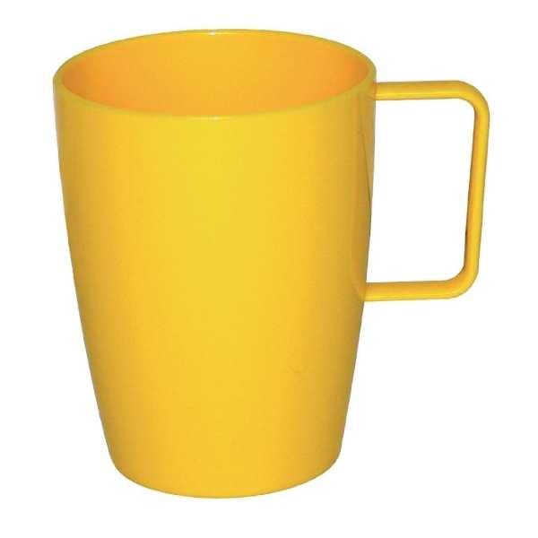 Kristallon Polycarbonate Handled Beaker Yellow - 284ml 10oz (Box 12)-0