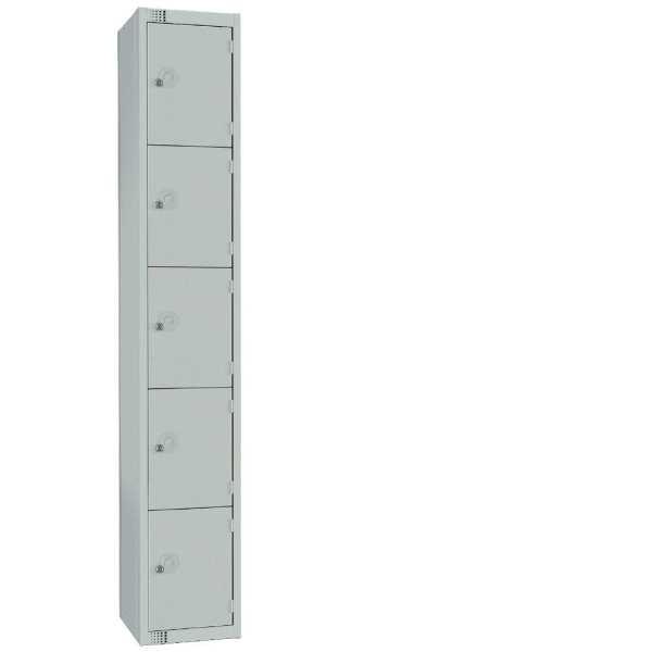 300mm Deep Locker 5 Door Padlock Mid Grey with Sloping Top (Direct)-0