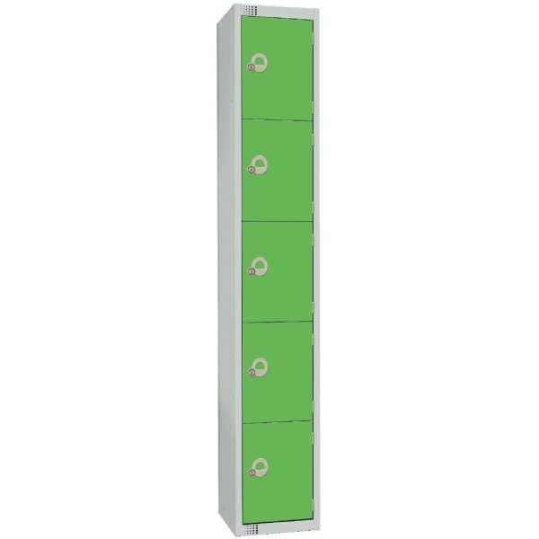 300mm Deep Locker 5 Door Padlock Green (Direct)-0