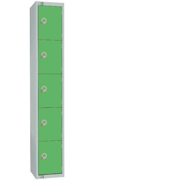 300mm Deep Locker 5 Door Padlock Green with Sloping Top (Direct)-0
